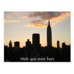 Puesta del sol de New York City Tarjeta Postal