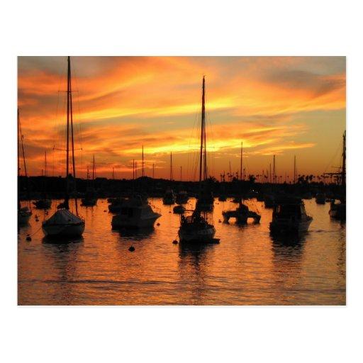 Puesta del sol de Newport Tarjetas Postales