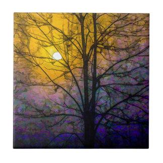 Puesta del sol de niebla azulejo cuadrado pequeño