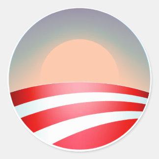 Puesta del sol de Obama Pegatina Redonda