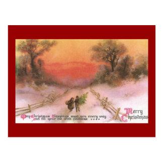 Puesta del sol de Orangey sobre Navidad del vintag Postales