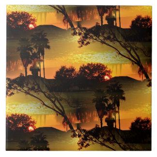 Puesta del sol de oro ardiente de la Florida Azulejo Cuadrado Grande