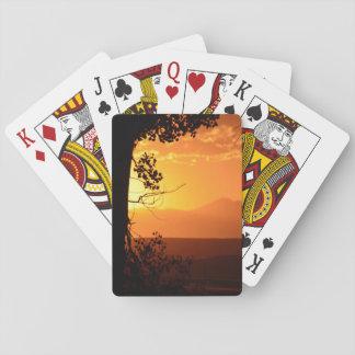 Puesta del sol de oro barajas de cartas