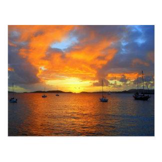 Puesta del sol de oro de la bahía de Frank, St. Jo Tarjetas Postales