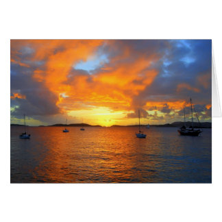 Puesta del sol de oro de la bahía de Frank, St. Tarjeta De Felicitación