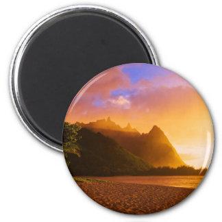 Puesta del sol de oro de la playa, Hawaii Imán Redondo 5 Cm