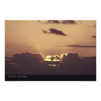Puesta del sol de oro en Hawaii Impresión Fotográfica