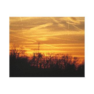 Puesta del sol de oro - la colina NJ los E.E.U.U. Impresión En Lona Estirada