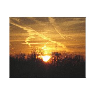 Puesta del sol de oro - la colina NJ los E.E.U.U. Impresion En Lona