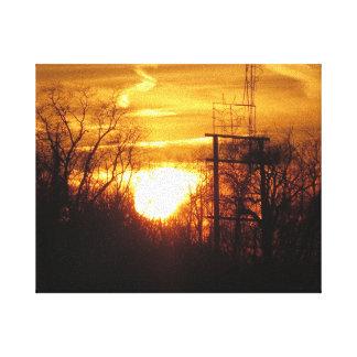 Puesta del sol de oro - la colina NJ los E.E.U.U. Lona Envuelta Para Galerias