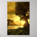 Puesta del sol de oro posters