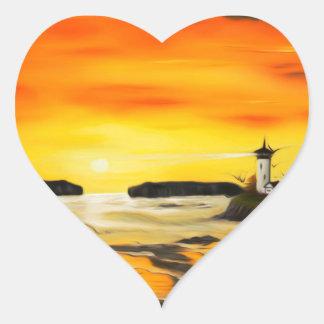 Puesta del sol de oro radiante del faro - pegatina en forma de corazón