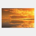Puesta del sol de oro rectangular pegatina