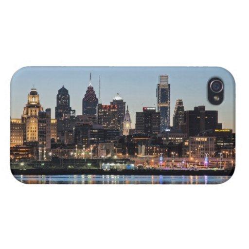 Puesta del sol de Philly iPhone 4 Carcasas
