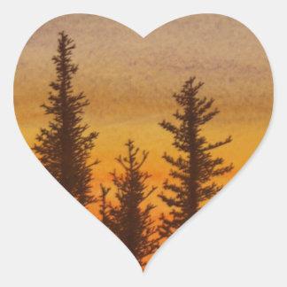 Puesta del sol de Pinetree Pegatina En Forma De Corazón