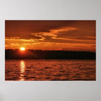 Puesta del sol de Puget Sound Póster