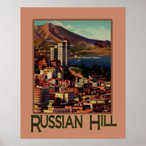 Puesta del sol de San Francisco en el poster ruso