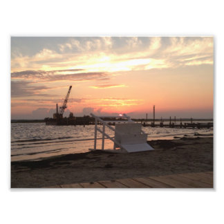 Puesta del sol de Sandy del huracán de la bahía de Impresiones Fotograficas