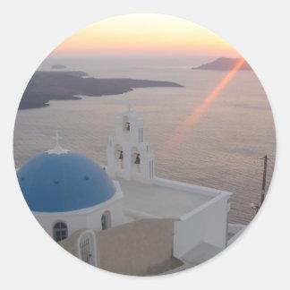 Puesta del sol de Santorini Pegatina Redonda