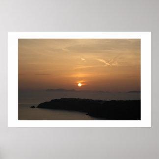 Puesta del sol de Santorini Poster