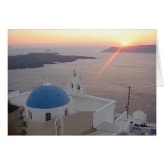 Puesta del sol de Santorini Tarjeta De Felicitación