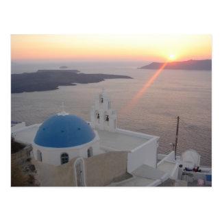 Puesta del sol de Santorini Tarjetas Postales