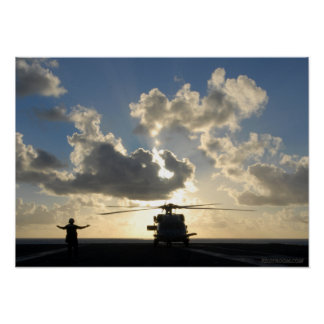 Puesta del sol de Seahawk Poster