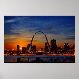 Puesta del sol de St. Louis Poster