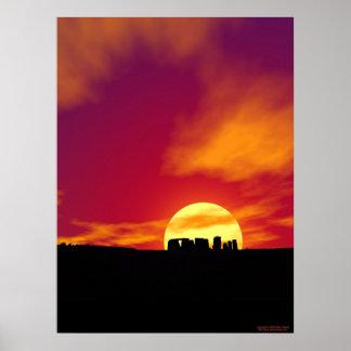 Puesta del sol de Stonehenge Posters