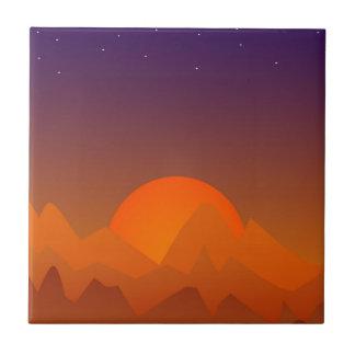 Puesta del sol de sueño del arte del paisaje del azulejo cuadrado pequeño