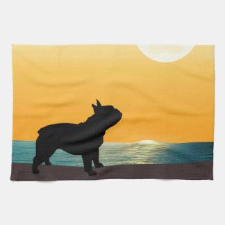 Puesta del sol de Surfside del dogo francés Toallas De Mano