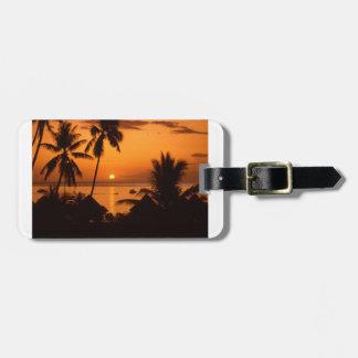 puesta del sol de Tahití Etiqueta De Equipaje