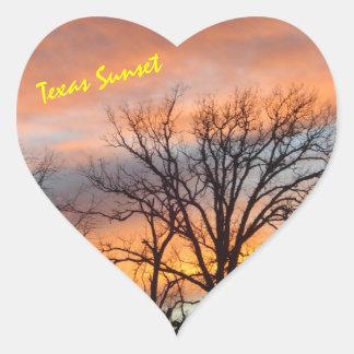 Puesta del sol de Tejas Pegatina En Forma De Corazón