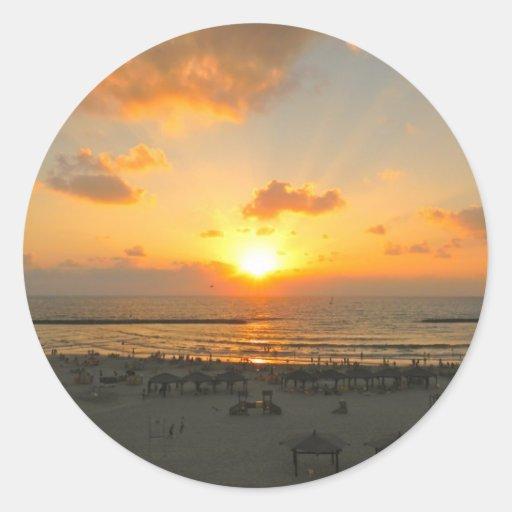 Puesta del sol de Tel Aviv Etiqueta Redonda