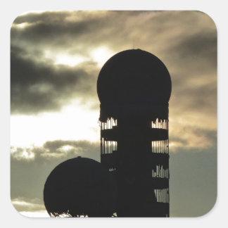Puesta del sol de Teufelsberg, Berlín Pegatina Cuadrada