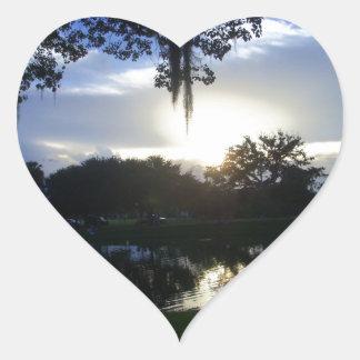 Puesta del sol de Tuscawilla Pegatina En Forma De Corazón