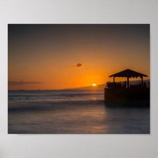 Puesta del sol de Waikiki Póster