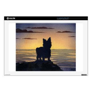 Puesta del sol de Yorkshire Terrier 43,2cm Portátil Calcomanías