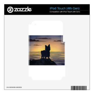 Puesta del sol de Yorkshire Terrier Calcomanía Para iPod Touch 4G