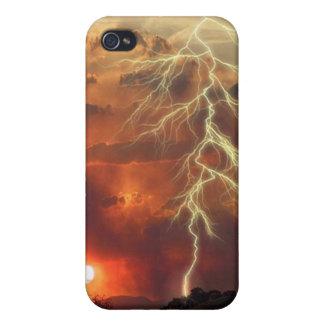 Puesta del sol del aligeramiento iPhone 4 carcasas