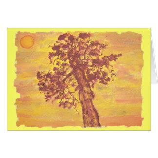 puesta del sol del árbol del enebro tarjeta de felicitación