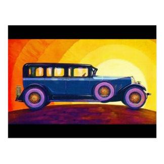 Puesta del sol del arco iris del automóvil del tarjetas postales
