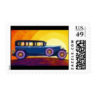 Puesta del sol del arco iris del automóvil del timbre postal