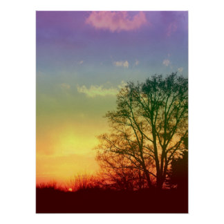 Puesta del sol del arco iris póster
