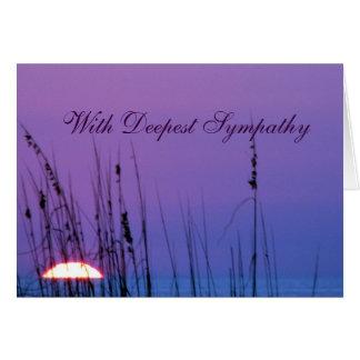 Puesta del sol del azul de la condolencia tarjeta de felicitación