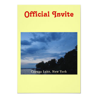 """Puesta del sol del azul del lago Cayuga Invitación 5"""" X 7"""""""