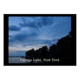 Puesta del sol del azul del lago Cayuga Tarjetas De Visita Grandes