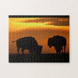 puesta del sol del bisonte puzzle con fotos
