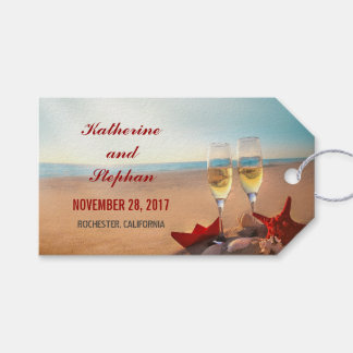 Puesta del sol del boda de playa etiquetas para regalos