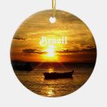 Puesta del sol del Brasil Adornos De Navidad